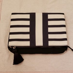 New Summer & Rose foldover clutch, black & Ivory